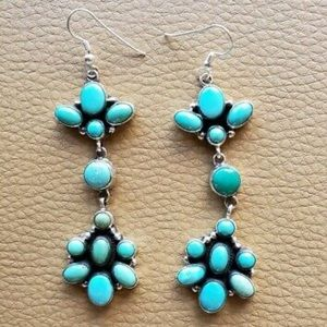 Navajo Carico Lake Turquoise .925 Dangle Earrings